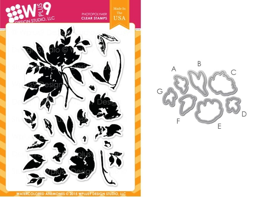 Wplus9 WATERCOLORED ANEMONES SET Clear Stamp And Die Combo SETWPLUS243 zoom image