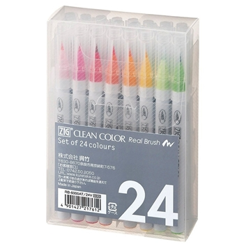 Zig Clean Colour Real Brush markers 24