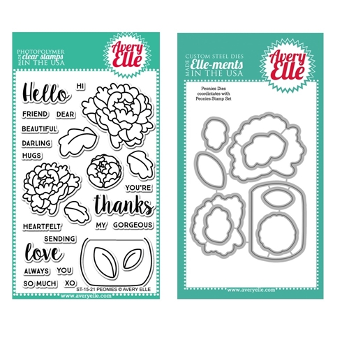 Avery Elle Clear Stamp and Die SET48PEAE PEONIES Preview Image
