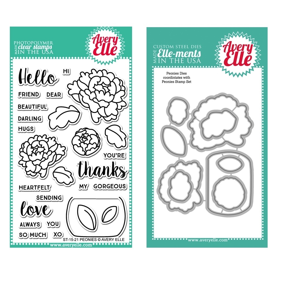Avery Elle Clear Stamp and Die SET48PEAE PEONIES zoom image