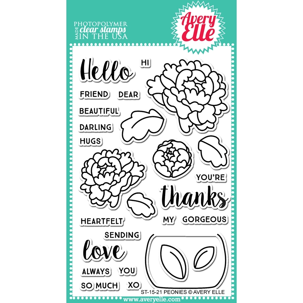 Avery Elle Clear Stamp PEONIES Set 022799 zoom image