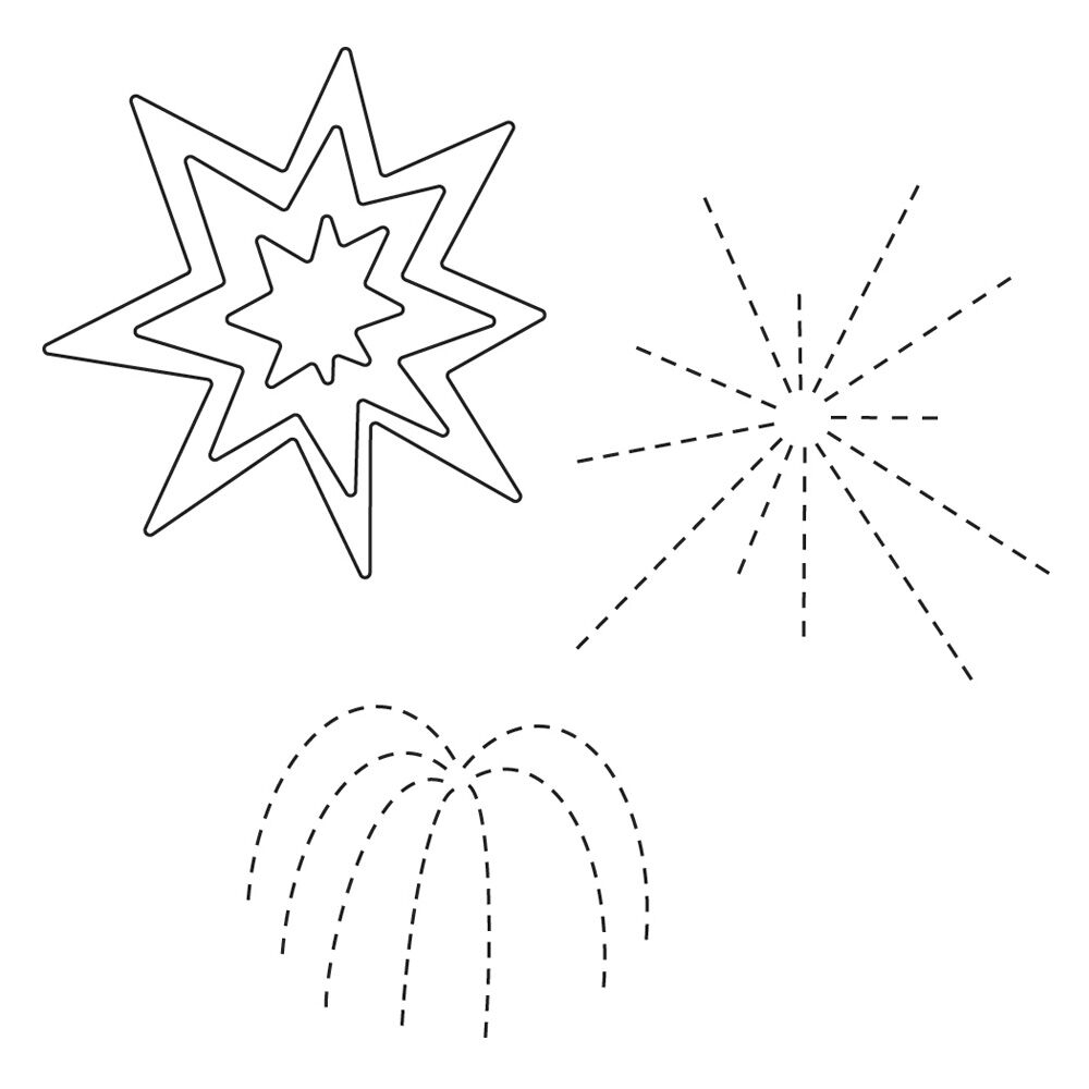 Simon Says Stamp FIREWORK BURSTS s292 Wafer Thin Dies The Color of Fun * zoom image