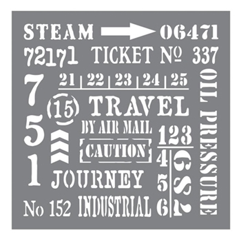 DecoArt Andy Skinner INDUSTRIAL ELEMENTS 8x8 Stencil ANDY107