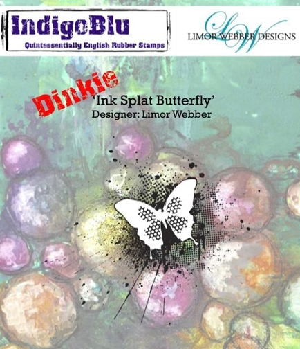 IndigoBlu Cling Stamp Dinkie INK SPLAT BUTTERFLY Rubber UM IND0143PC* zoom image