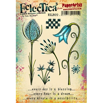 Paper Artsy ECLECTICA3 LIN BROWN 22 Rubber Cling Stamp ELB22
