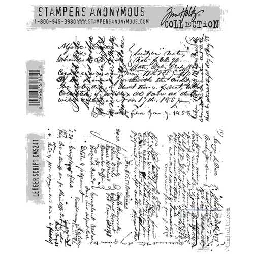 Tim Holtz Cling Rubber Stamps LEDGER SCRIPT CMS241 Preview Image