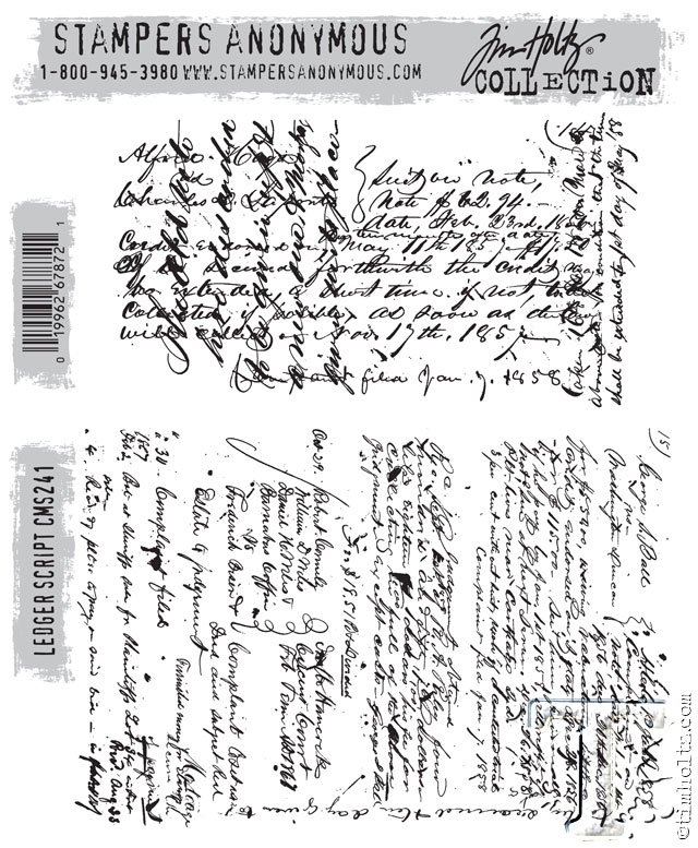 Tim Holtz Cling Rubber Stamps LEDGER SCRIPT CMS241 zoom image