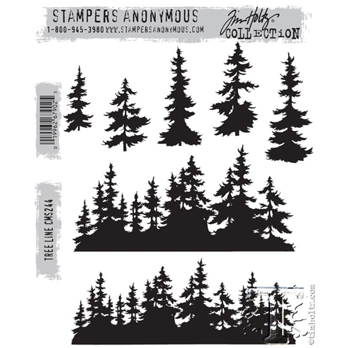 Tim Holtz Cling Rubber Stamps  TREE LINE CMS244 Preview Image