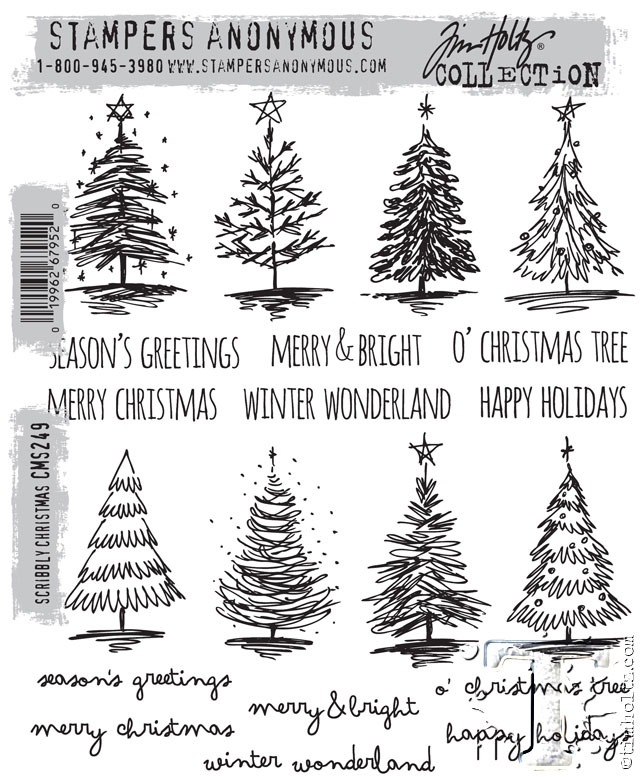 Tim Holtz Cling Rubber Stamps  SCRIBBLY CHRISTMAS CMS249 zoom image