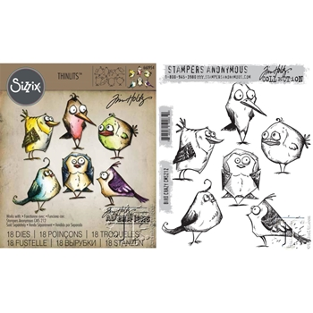Tim Holtz Sizzix BIRD CRAZY Framelits Die And Cling Stamp Set THS212*