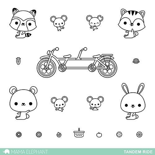 Mama Elephant Clear Stamp TANDEM RIDE Set  Preview Image