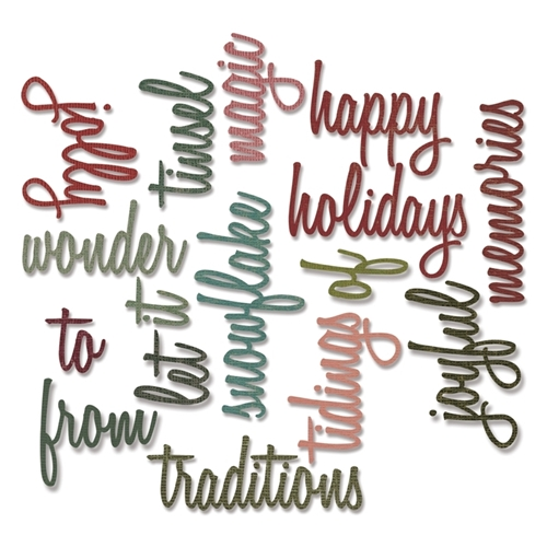 Tim Holtz Sizzix HOLIDAY WORDS 2 SCRIPT Thinlits Die 660977 Preview Image
