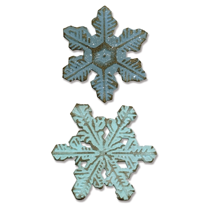 Tim Holtz Sizzix SNOWFLAKE DUO Bigz Die With Texture Fades 660989 zoom image