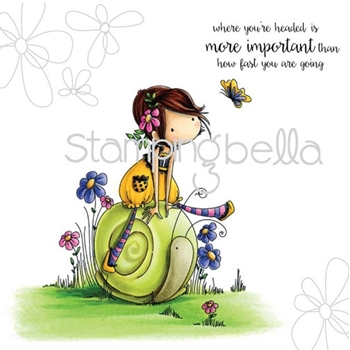 Stamping Bella Cling Stamp TINY TOWNIE SALLY AND HER SNAIL Rubber UM eb308