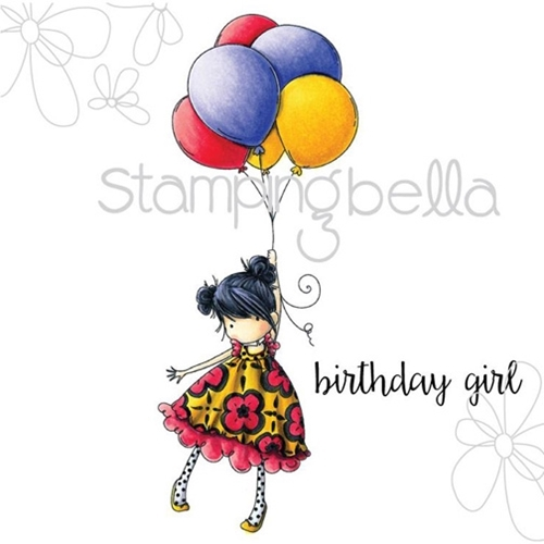 Stamping Bella Cling Stamp TINY TOWNIE BLOSSOM LOVES BALLOONS Rubber UM eb306 Preview Image