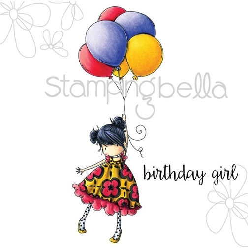 Stamping Bella Cling Stamp TINY TOWNIE BLOSSOM LOVES BALLOONS Rubber UM eb306 zoom image