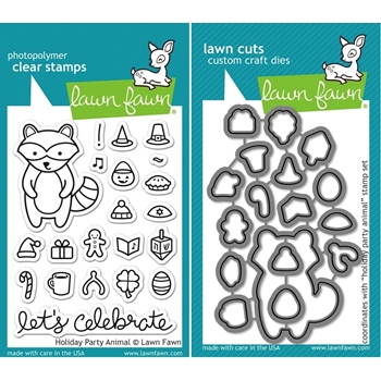 Lawn Fawn SET LF15SETHPA FESTIVE FRIENDS Clear Stamps and Dies