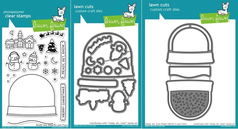 Lawn Fawn SET LF15SETADDON HOLIDAY SNOW GLOBE SHAKER Clear Stamps and Dies