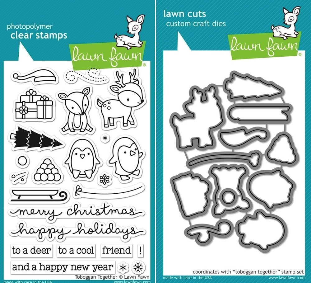 Lawn Fawn SET LF15SETTT SLEDDING PALS Clear Stamps and Dies (toboggan together)