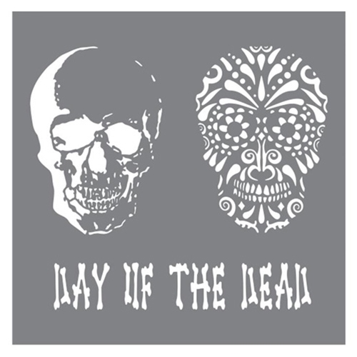 DecoArt Andy Skinner DAY OF THE DEAD 8x8 Stencil ANDY102 Preview Image