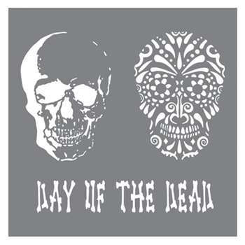 DecoArt Andy Skinner DAY OF THE DEAD 8x8 Stencil ANDY102