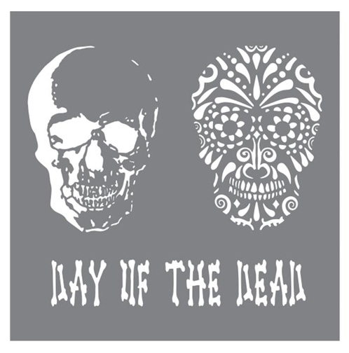 DecoArt Andy Skinner DAY OF THE DEAD 8x8 Stencil ANDY102 zoom image