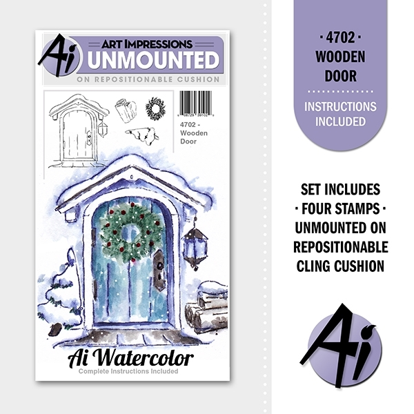 Art Impressions WOODEN DOOR Ai Watercolor Cling Rubber Stamps 4702 zoom image