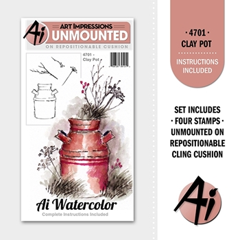 Art Impressions CLAY POT Ai Watercolor Cling Rubber Stamps 4701