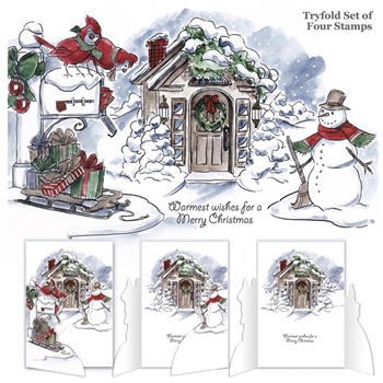 Art Impressions CHRISTMAS SCENE Tryfolds Cling Rubber Stamps 4687