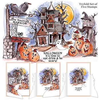 Art Impressions HAUNTED HOUSE Tryfolds Cling Rubber Stamps 4688