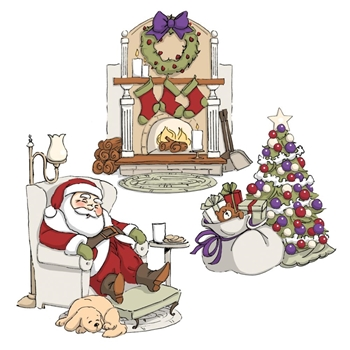 Art Impressions SLEEPY SANTA Tryfolds Cling Rubber Stamps 4341