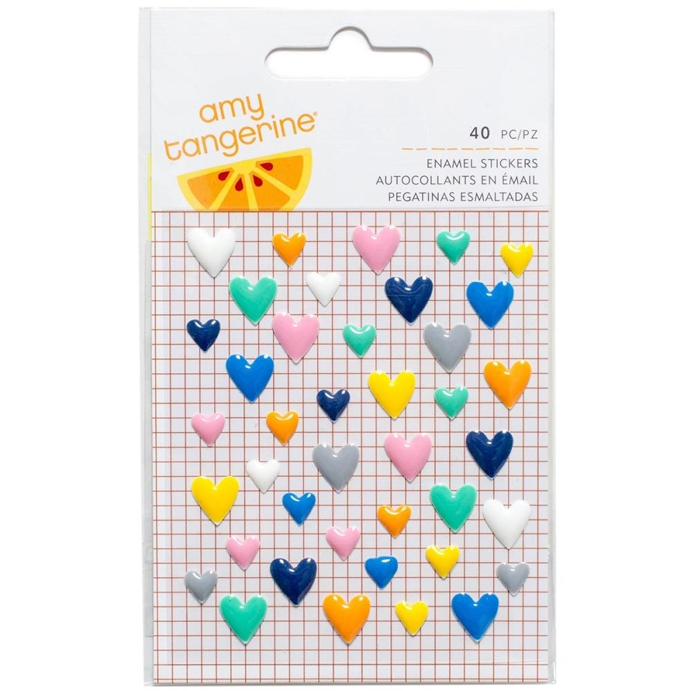 American Crafts Amy Tangerine ENAMEL HEARTS Finders Keepers 340236 zoom image