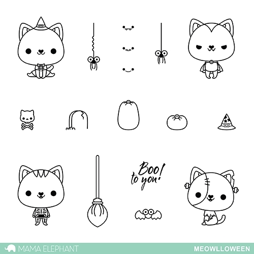 Mama Elephant Clear Stamp MEOWLLOWEEN Set * Preview Image