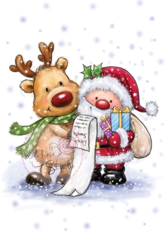 Wild Rose Studio SANTA AND RUDOLPH Clear Stamp CL457 Preview Image