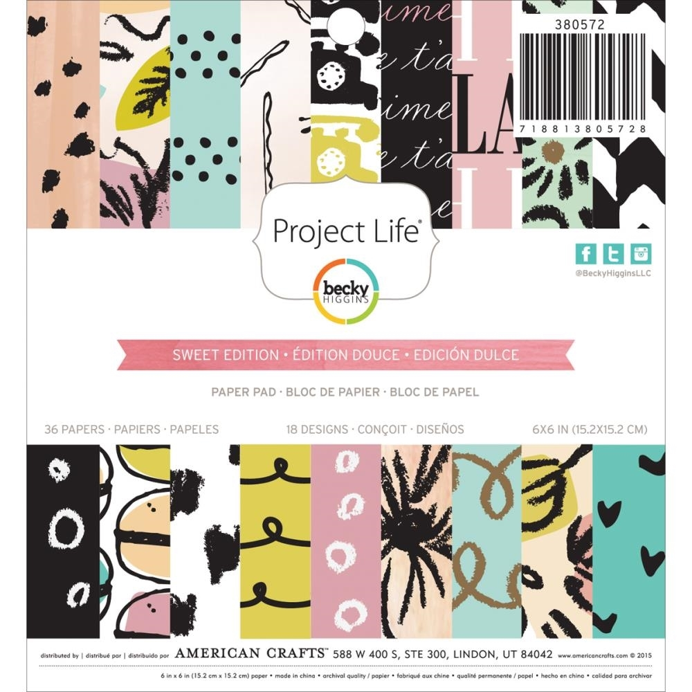 Becky Higgins American Crafts Project Life SWEET Edition 6x6 Paper Pad 380572 zoom image