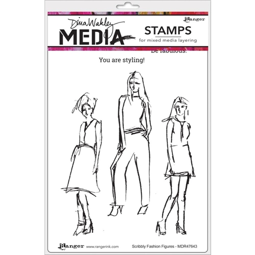 Dina Wakley SCRIBBLY FASHION FIGURES Media Cling Stamp Set MDR47643 Preview Image