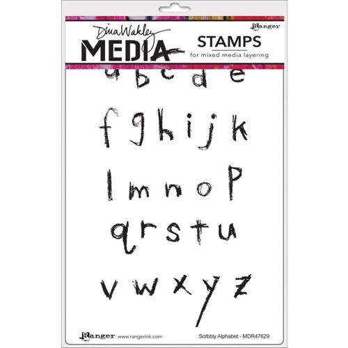 Dina Wakley SCRIBBLY ALPHABET Media Cling Stamp Set MDR47629 Preview Image