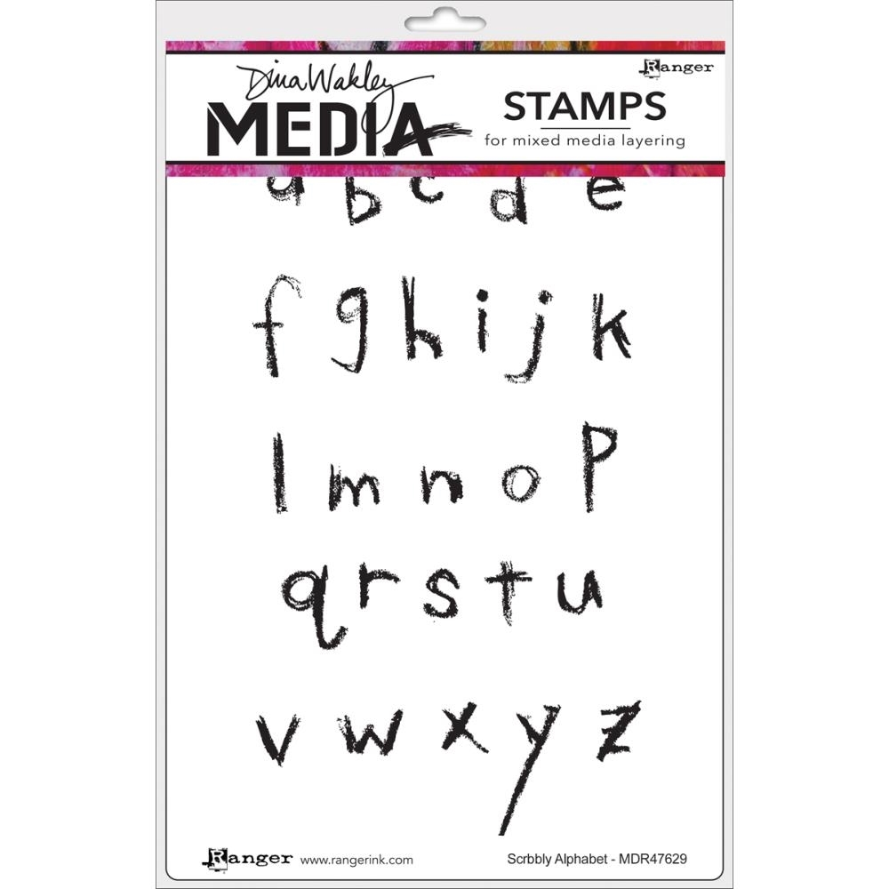 Dina Wakley SCRIBBLY ALPHABET Media Cling Stamp Set MDR47629 zoom image