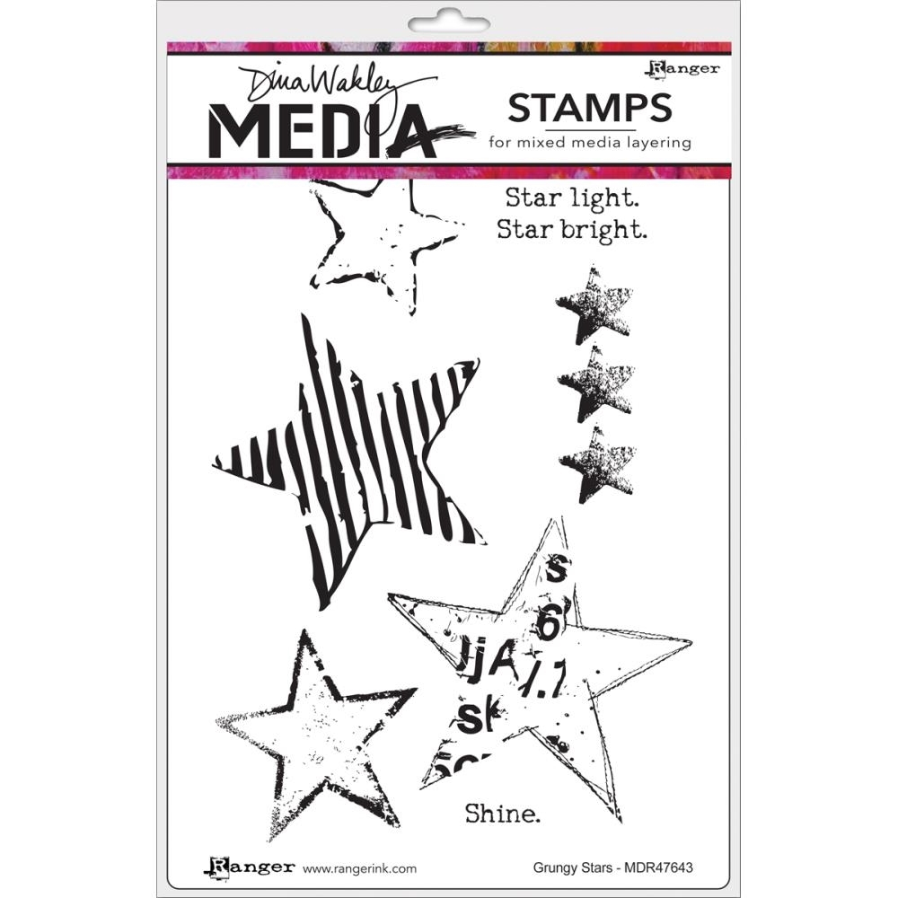 Dina Wakley GRUNGY STARS Media Cling Stamp Set MDR47612 zoom image