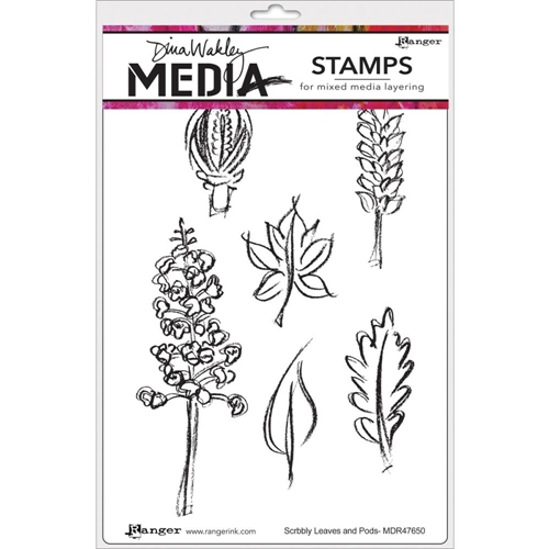 Dina Wakley SCRIBBLY LEAVES AND PODS Media Cling Stamp Set MDR47650 Preview Image