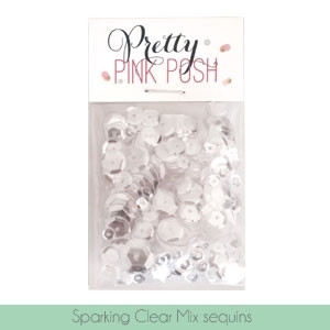 Pretty Pink Posh SPARKLING CLEAR MIX Cupped Sequins