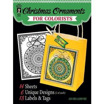 Hot Off The Press CHRISTMAS ORNAMENTS For Colorists Coloring Book 08504*
