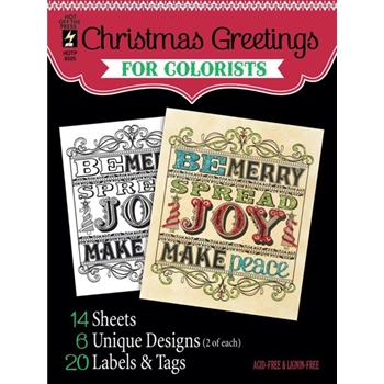Hot Off The Press CHRISTMAS GREETINGS For Colorists Coloring Book 08505