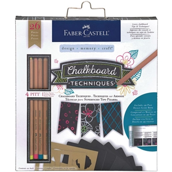 Faber-Castell  PITT PASTEL PENCIL CHALKBOARD TECHNIQUES KIT 26 piece 770406T