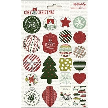 My Mind's Eye COZY CHRISTMAS Chipboard Buttons CC1012*