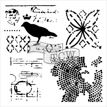 The Crafters Workshop MINI RAVEN MOSAIC 6 x 6 Template TCW586S