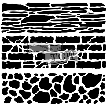 The Crafters Workshop MINI ROCK WALL 6 x 6 Template TCW573S