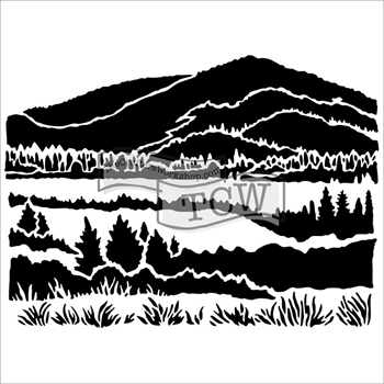 The Crafters Workshop MINI MOUNTAIN VIEW 6 x 6 Template TCW574S