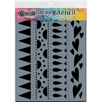 Dyan Reaveley Stencil 9 x 12 HEART BORDER BORDER LARGE Dylusions DYS47162