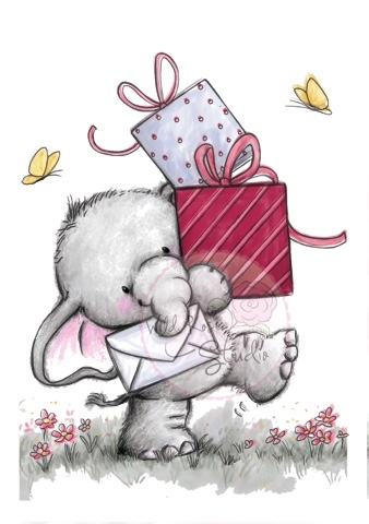 Wild Rose Studio BELLA WITH PRESENTS Clear Stamp Set CL222 Preview Image